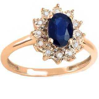10k Rose Gold 1ct TDW Diamond Oval Blue Sapphire Princess Diana Replica Engagement Ring (I-J ,I1-I2)