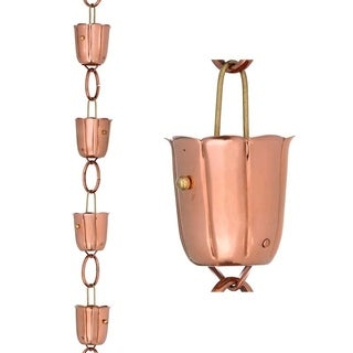 14 Cup Bluebell Rain Chain Polished Copper by Good Directions