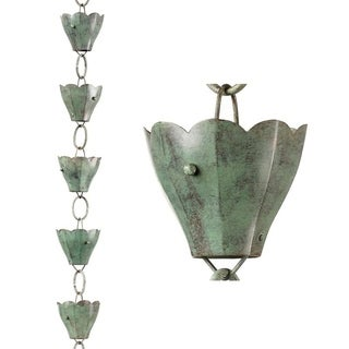 13 Cup Tulip Rain Chain Blue Verde Copper by Good Directions