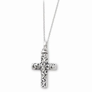 Versil Sterling Silver Antiqued Cross Remembrance Ash Holder Necklace