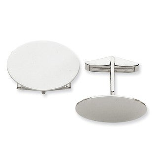 Versil 14k White Gold Oval Cuff Links