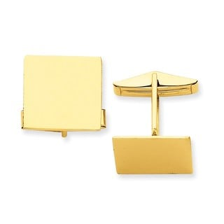 Versil 14k Yellow Gold Square Cuff Links