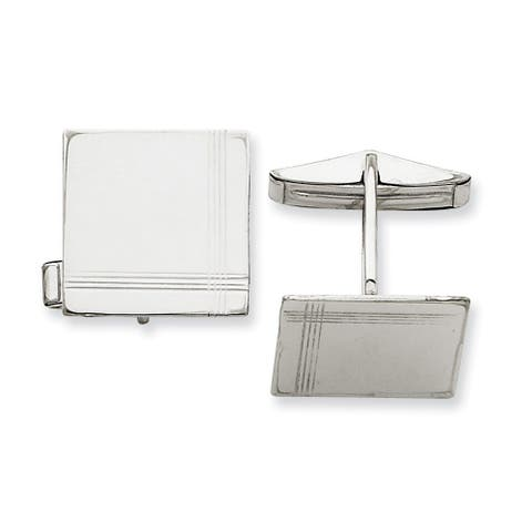 Versil 14 Karat White Gold Square Line Design Cuff Links