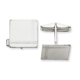 Versil 14k White Gold Square Line Design Cuff Links