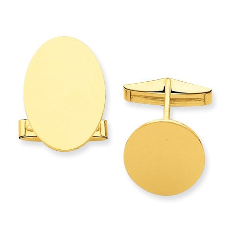 Versil 14k Yellow Gold Oval Cuff Links