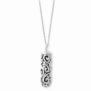 Versil Sterling Silver Antiqued Cylinder Remembrance Ash Holder Necklace