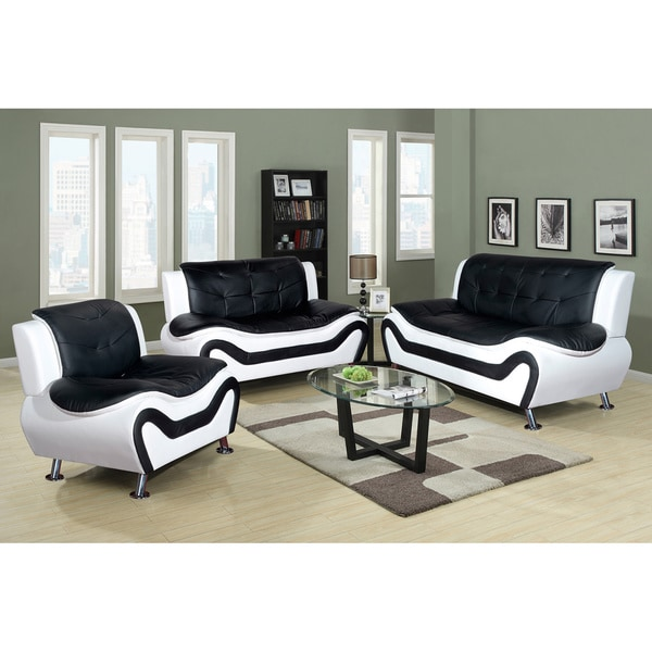 3 piece sofa set Shop Ceccina Modern Leather 3 Piece Living Room Sofa Set   Free  3 piece sofa set