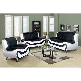 Ceccina Modern Leather 3-Piece Living Room Sofa Set