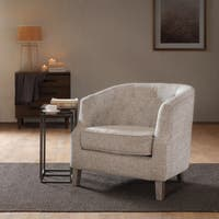 Madison Park Aden Chesterfield Barrel Chair -- Natural Multi Option