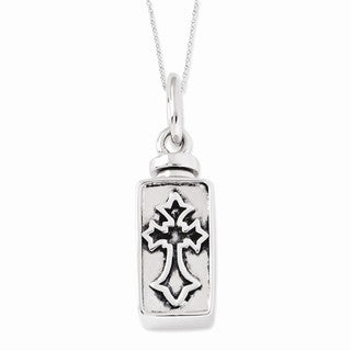 Versil Sterling Silver Antiqued Rectangle Box Cross Ash Holder Necklace