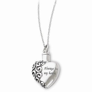 Versil Sterling Silver Antiqued Heart Remembrance Ash Holder Necklace