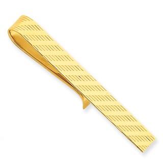 Versil 14k Yellow Gold Diagonal Scratch Tie Bar