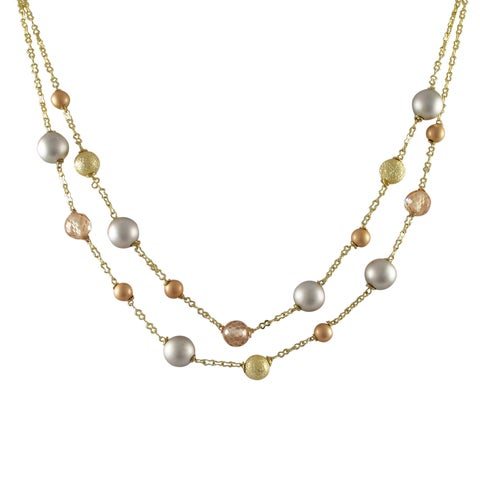 Luxiro Tri-color Gold Finish Champagne Cubic Zirconia Ball Two-row Necklace