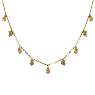 Luxiro Gold Finish Champagne Cubic Zirconia Ball Necklace