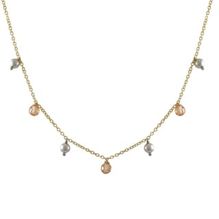 Luxiro Two-tone Gold Finish Champagne Cubic Zirconia Ball Necklace