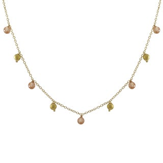Luxiro Matte Gold Finish Champagne Cubic Zirconia Ball Necklace