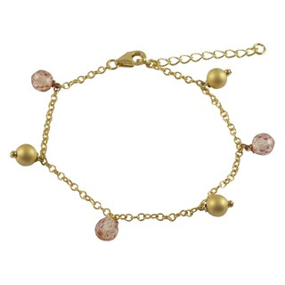 Luxiro Matte Gold Finish Champagne Cubic Zirconia Ball Charm Bracelet