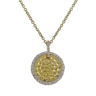 Luxiro Two-tone Sterling Silver Cubic Zirconia Hammered Circle Pendant Necklace