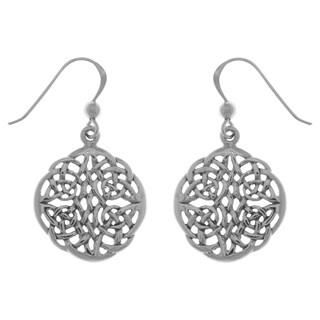 Sterling Silver Celtic Knot Round Filigree Dangle Earrings