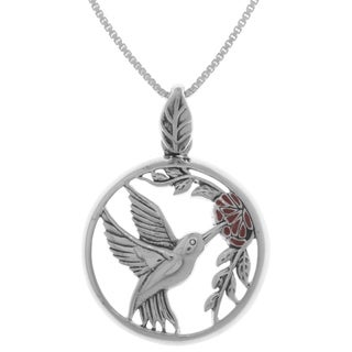 Carolina Glamour Collection Sterling Silver Hummingbird with Red Flower Pendant