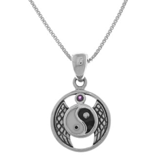 Carolina Glamour Collection Sterling Silver Purple Amethyst Winged Yin Yang Pendant