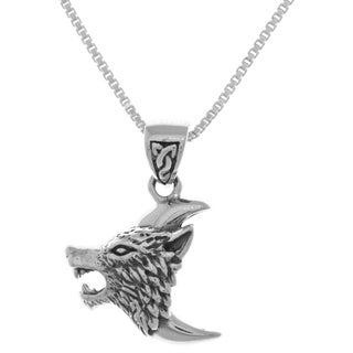 Sterling Silver Howling Wolf Head on Crescent Moon Pendant