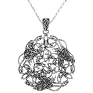 Sterling Silver Large Celtic Raven Triskele Pendant