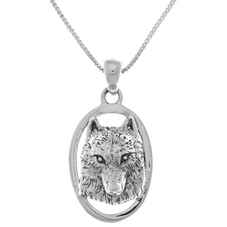Carolina Glamour Collection Sterling Silver Wolf Face 3D Portrait Pendant