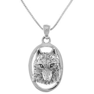 Sterling Silver Wolf Face 3D Portrait Pendant