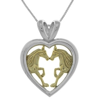 Carolina Glamour Collection 14k Goldplated Silver Horse Lovers Heart Pendant