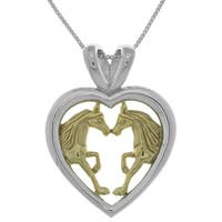 Goldplated Silver Horse Lovers Heart Pendant