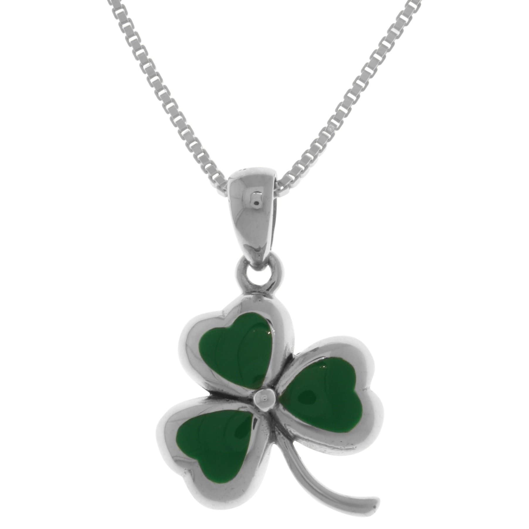 14k Yellow Gold Irish Celtic Shamrock 3 Leaf Clover Pendant Rope Chain Necklace