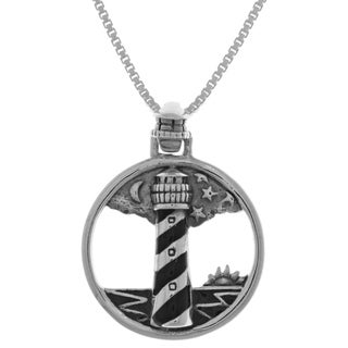 Carolina Glamour Collection Sterling Silver Cape Hatteras Lighthouse Round Pendant