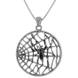 Carolina Glamour Collection Sterling Silver Black Spider on Round Web Pendant