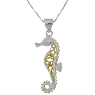 Carolina Glamour Collection 14k Goldplated Silver Pink Celtic Seahorse Pendant