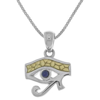 Goldplated Silver Lapis Eye Of Horus Pendant Necklace