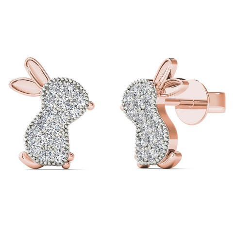 10k Rose Gold 1/10ct TDW Diamond Bunny Earrings (H-I, I1-I2)