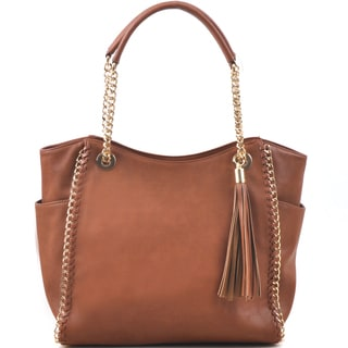 Dasein Faux Leather Chain Link Tote Bag Handbag