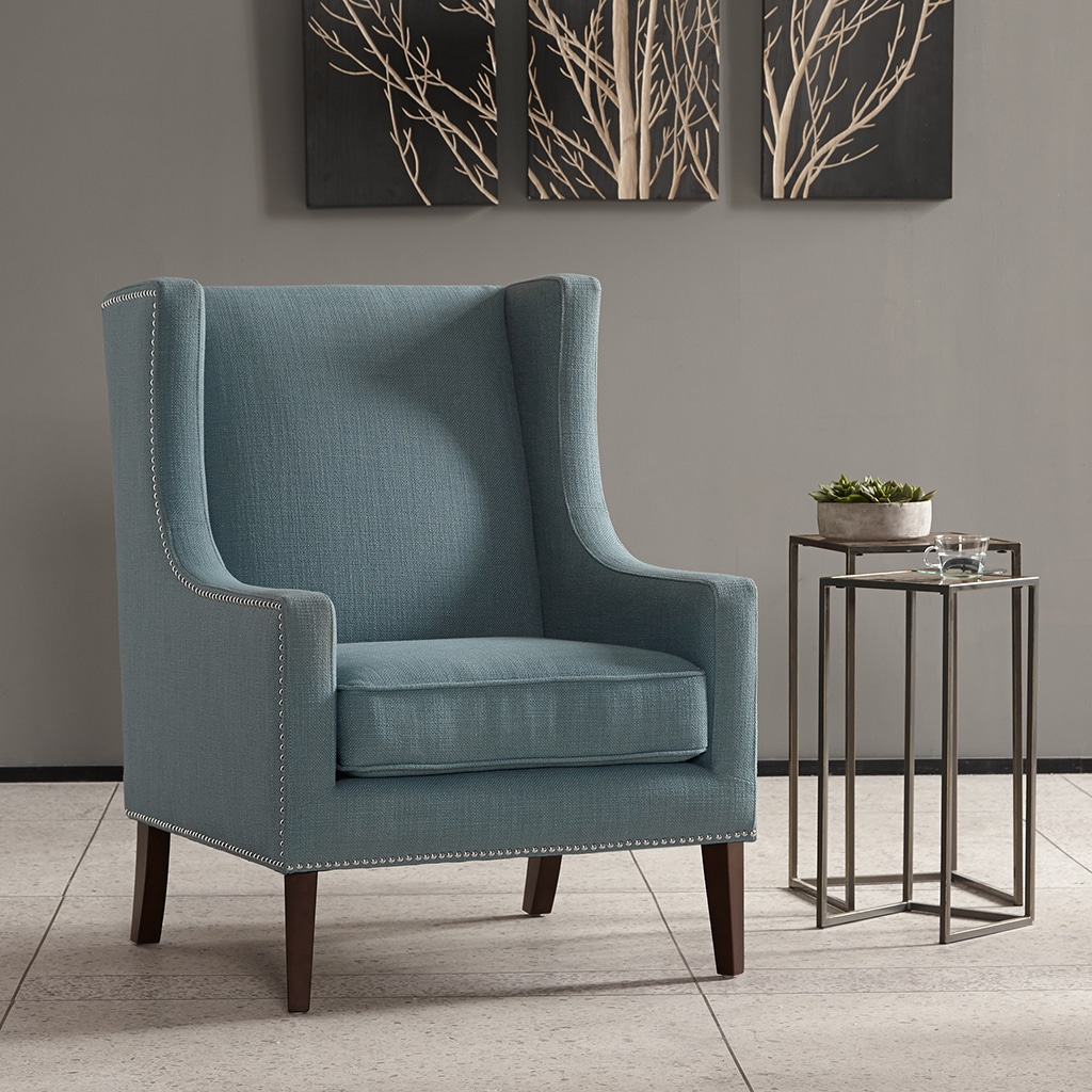 Miraculous Madison Park Weston Blue Wing Chair Short Links Chair Design For Home Short Linksinfo