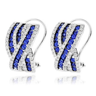 Luxurman 14k White Gold Blue Sapphire and 1 1/5ct TDW Diamond Earrings (G-H, VS-SI)