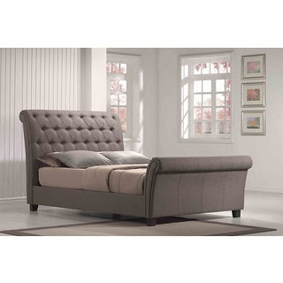 Linen Tufted Upholstered Sleighbed