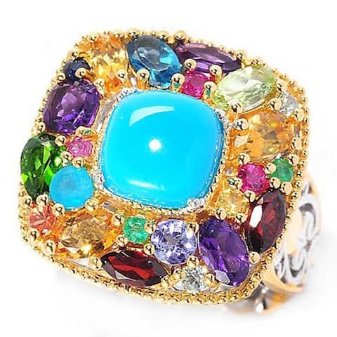 Michael Valitutti Palladium Silver Sleeping Beauty Turquoise & Multi Gemstone Ring