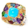 Michael Valitutti Palladium Silver Sleeping Beauty Turquoise & Multi Gemstone Ring