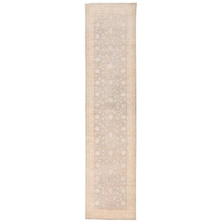 Herat Oriental Afghan Hand-knotted Vegetable Dye Oushak Grey/ Ivory Wool Area Rug (2'11 x 12'5)