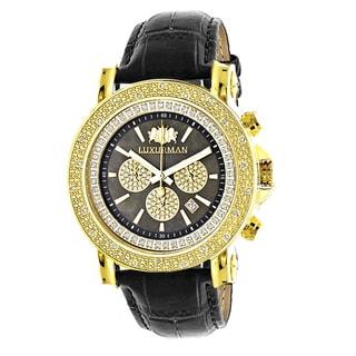 Luxurman Men's Goldplated Diamond 1/4ct TDW Black MOP Escalade 2707 Large Watch