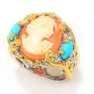 One-of-a-kind Michael Valitutti Cameo & Sleeping Beauty Turquoise Ring