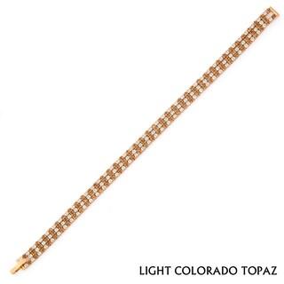 Isla Simone 14k Goldplated Three Row Crystal Bracelet
