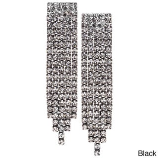 Isla Simone - Crystal Five Row Earring in Assorted Colors (Option: Black)