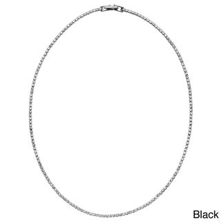 Isla Simone - Crystal Single Row Necklace in Assorted Colors (Option: Black Rhodium Plated)