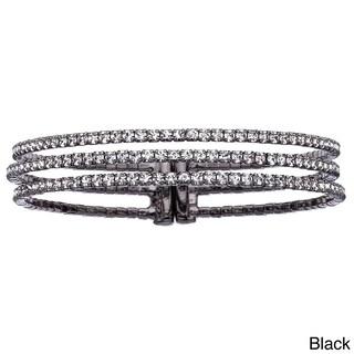 Isla Simone Goldplated or Platinum-Plated Crystal 3-Row Gap Bangle (Option: Black Rhodium Plated)